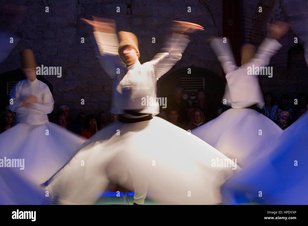 Drevish mystic dance at Hodjapasha Culture Center, Meulevi sema ceremony.Hokapasa Hamami Sk Nº5-9d,  . Istanbul. - Stock Image