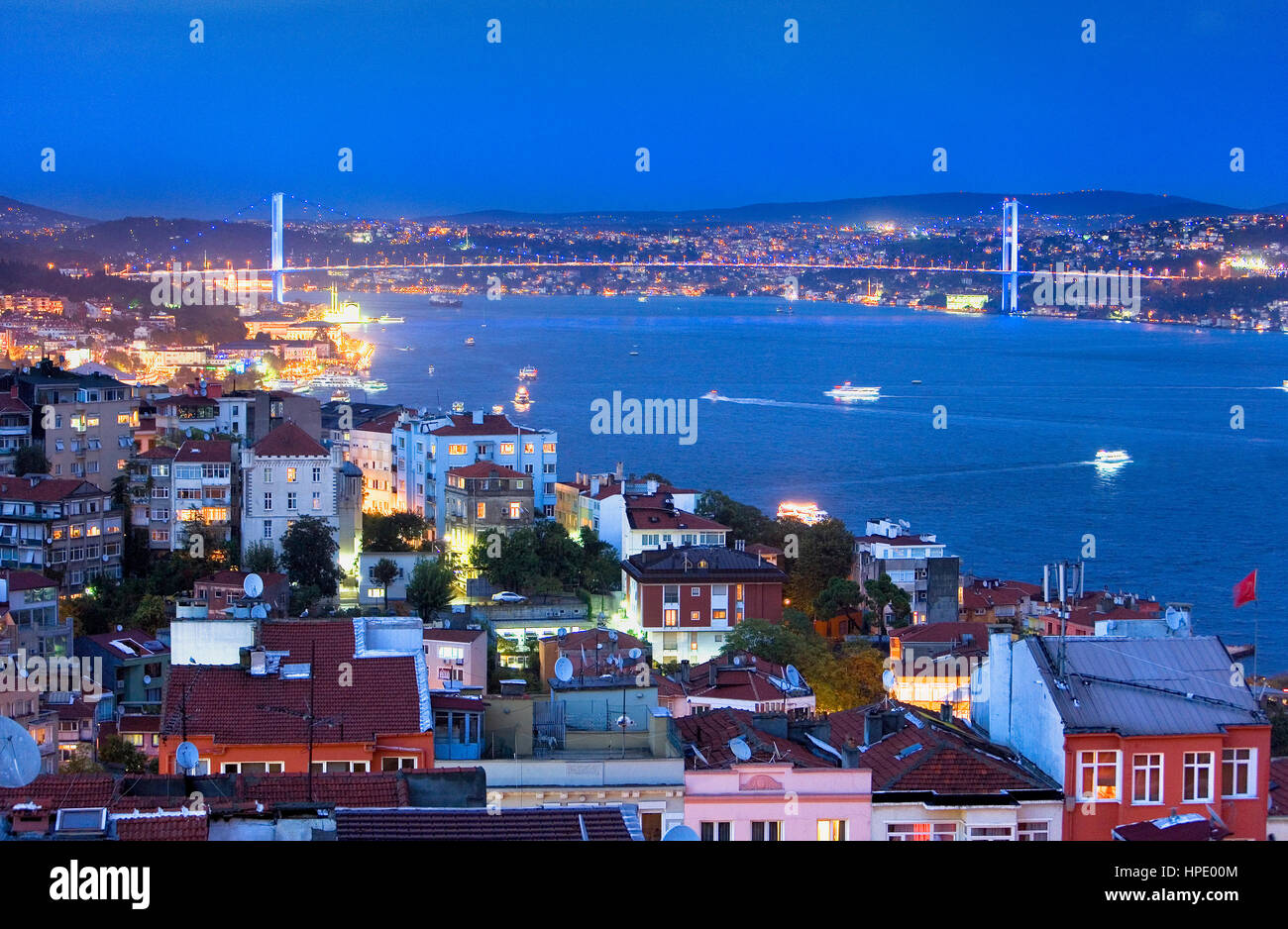 view from Beyoglu of Bosphorus Strait. In background  Bosphorus Bridge (Bogazici bridge),  Istanbul. Turkey - Stock Image