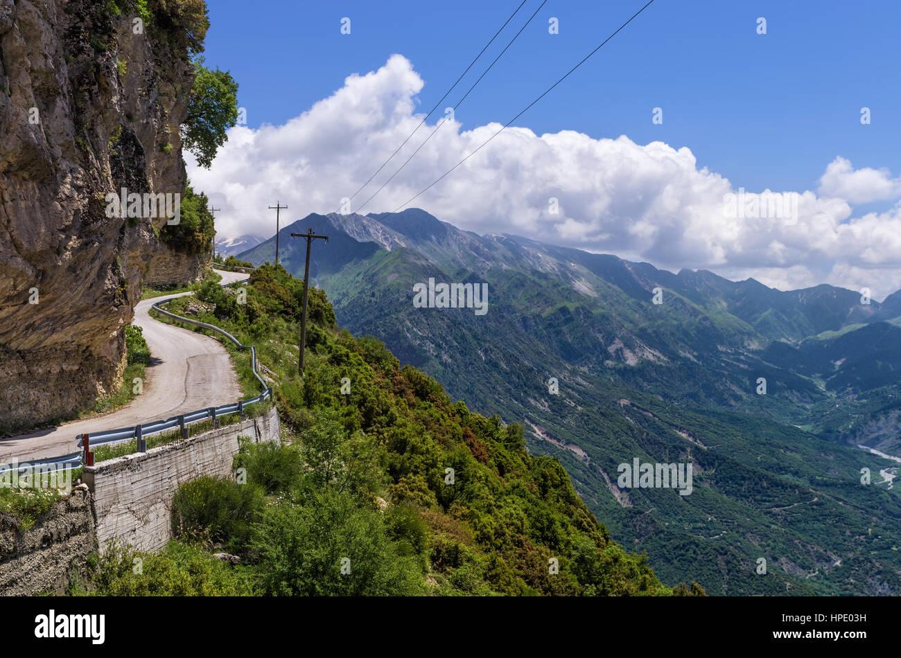 Mountainous road in Tzoumerka, Epirus, Greece - Stock Image