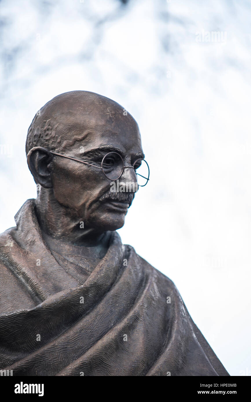Mahatma Gandhi statue in Parliament Square, opposite the Palace of Westminster, London, UK. Bronze by Philip Jackson. - Stock Image