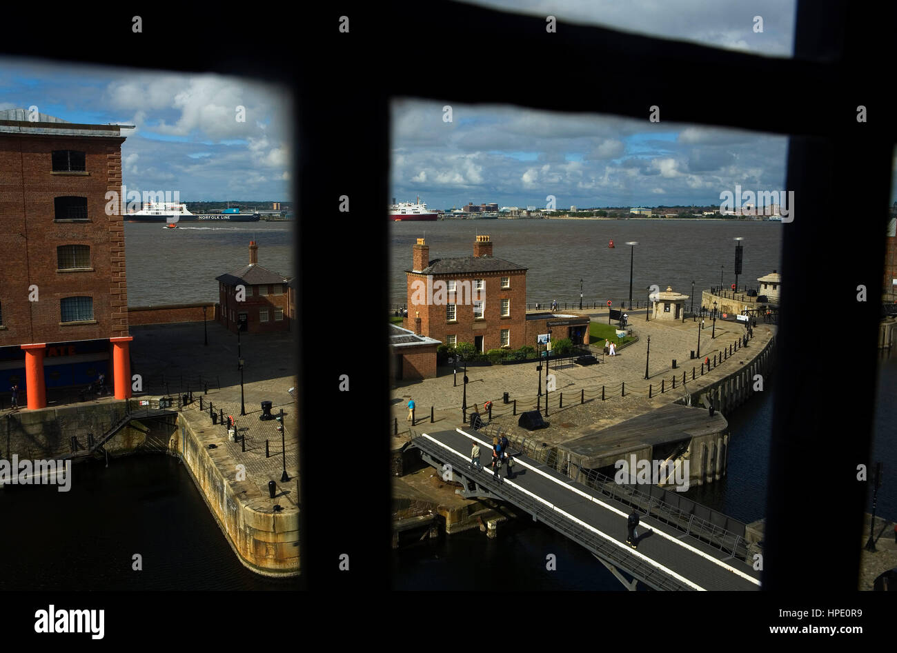 Albert Dock and Mersey river.Liverpool. England. UK - Stock Image