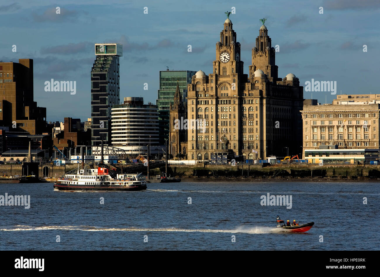 Skyline of the City, as seen from Mersey river.Liverpool. England. UK - Stock Image