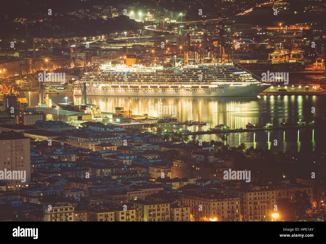 Cruise Ship in Port of La Spezia. Gulf of La Spezia. Liguria Region of Italy. Mediterranean Sea Cruises. - Stock Image
