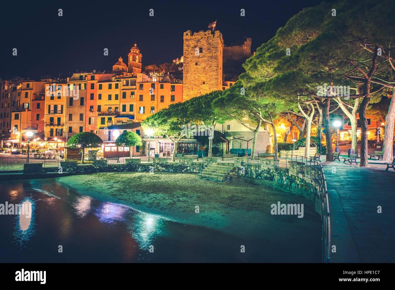 Famous Italian Riviera Porto Venere Night Scenery. Portovenere Illumination. La Spezia, Liguria, Italy. Part of - Stock Image