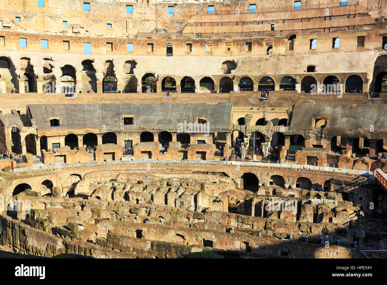 Interior of the 1st century Flaviam amphitheatre known as the Colosseum, Rome, Italy Stock Photo