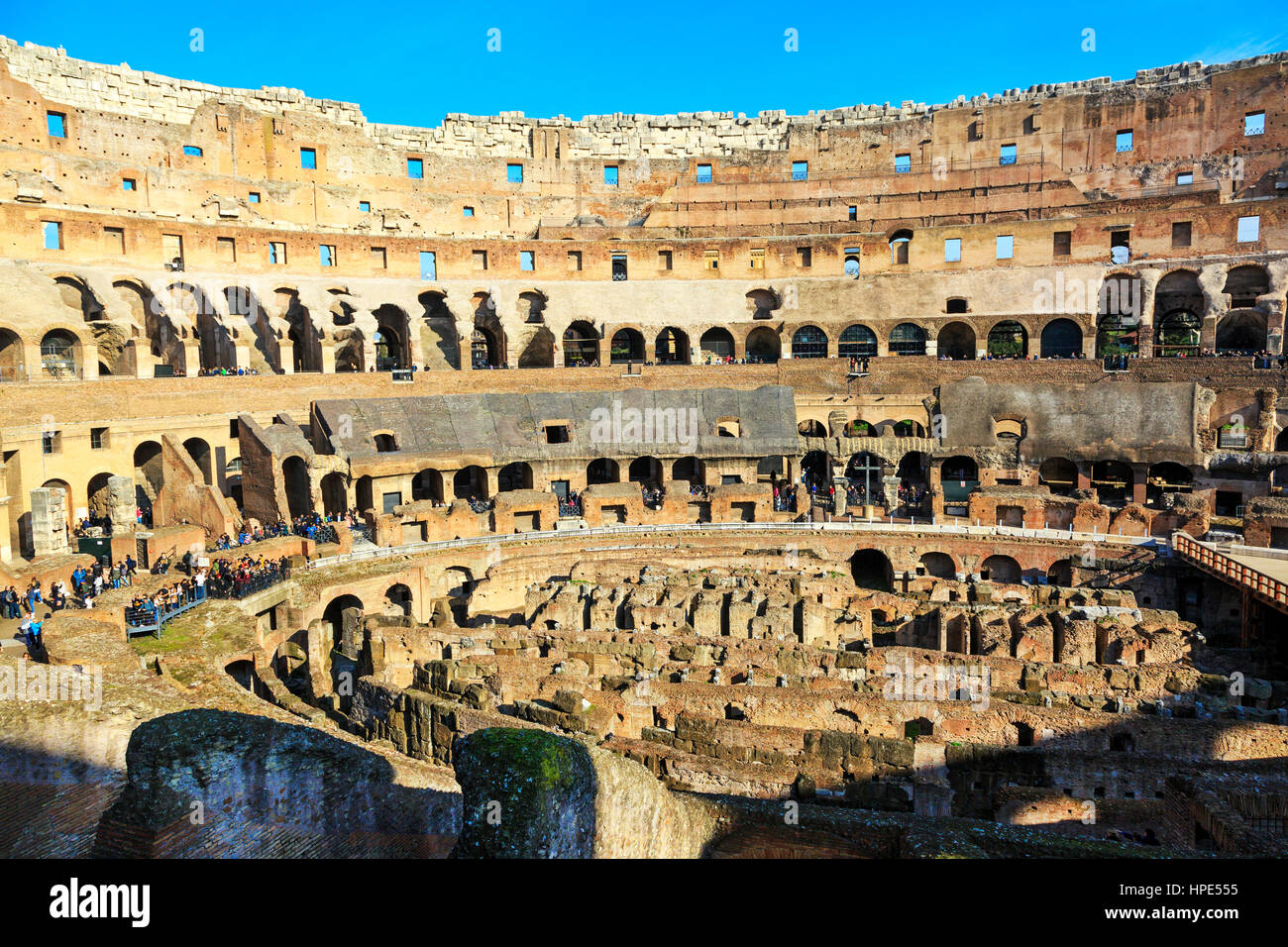 Interior of the 1st century Flaviam amphitheatre known as the Colosseum, Rome, Italy - Stock Image