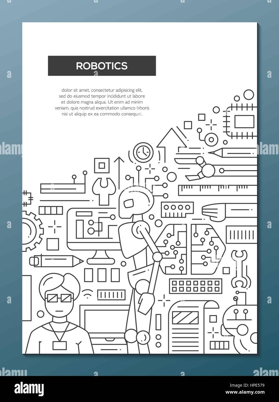 Robotics Line Design Brochure Poster Template A4 Stock Vector Art