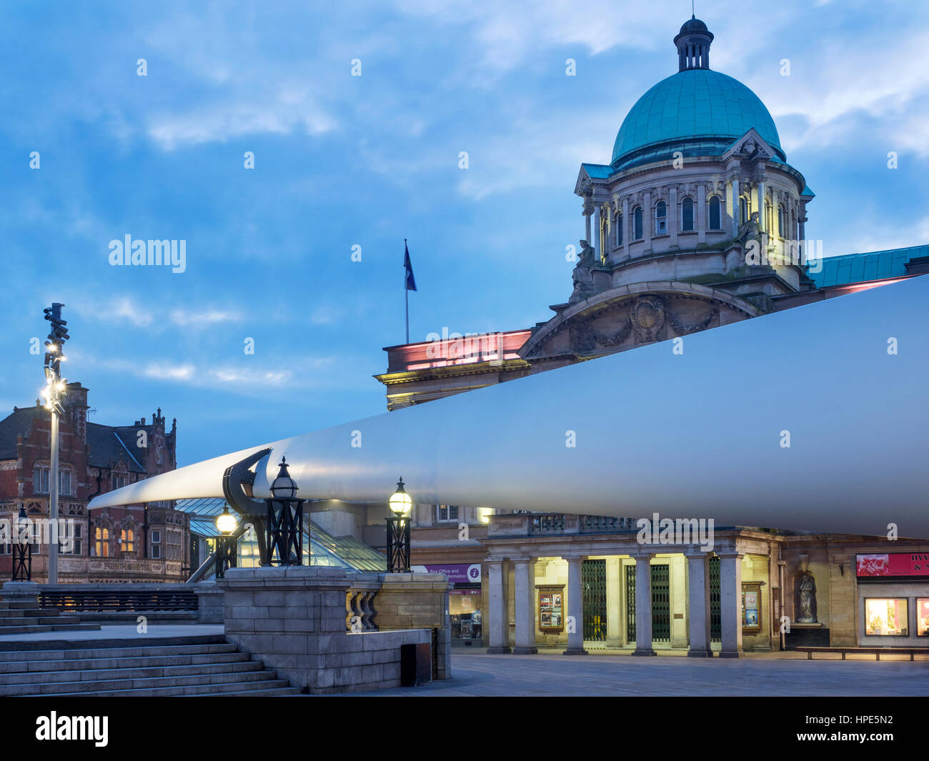 Blade Sculpture in front of Hull City Hall in Queen Victoria Square for Hull UK City of Culture 2017 Hull Yorkshire - Stock Image