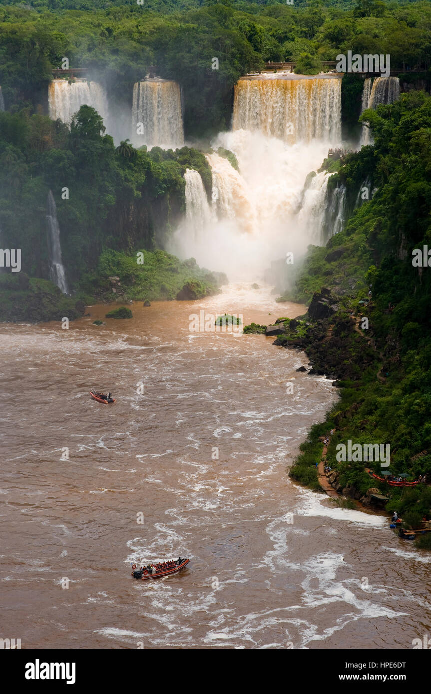Iguaçu Falls in Paraná State, at the border with Argentina and Paraguai - Stock Image