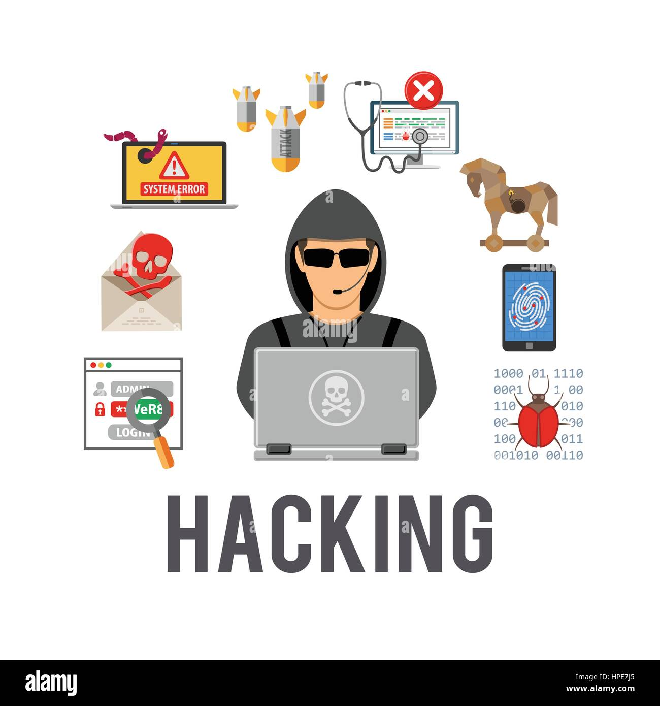 Cyber Crime and Hacking Concept - Stock Vector