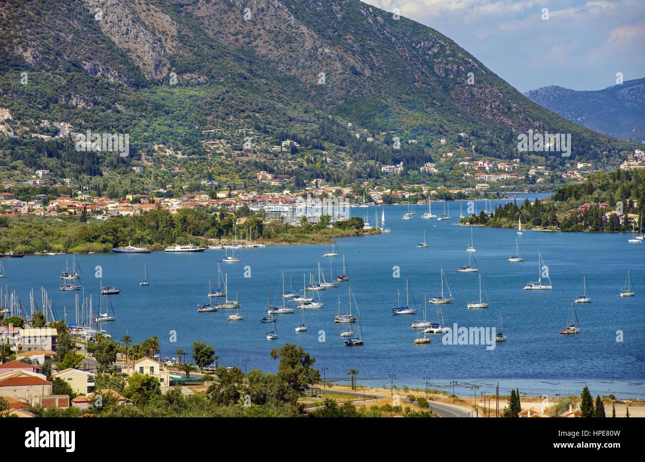 Geni port, near Nydri resort at Lefkada island located in the Ionian Sea, Greece - Stock Image