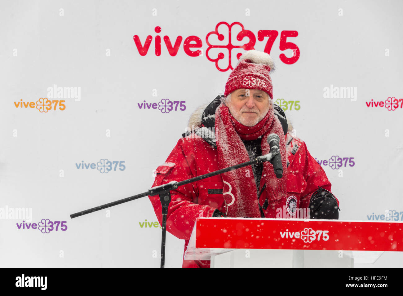 MONTREAL, CA - 12 February 2017: Gilbert Rozon, Commissioner for Celebrations for Montreal's 375th anniversary, - Stock Image