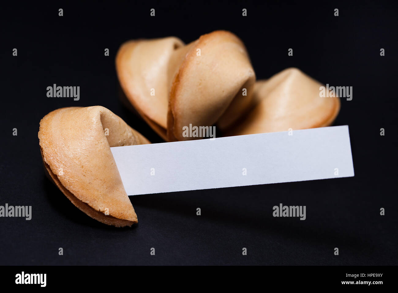 Chinese fortune cookies with blank paper strip. - Stock Image