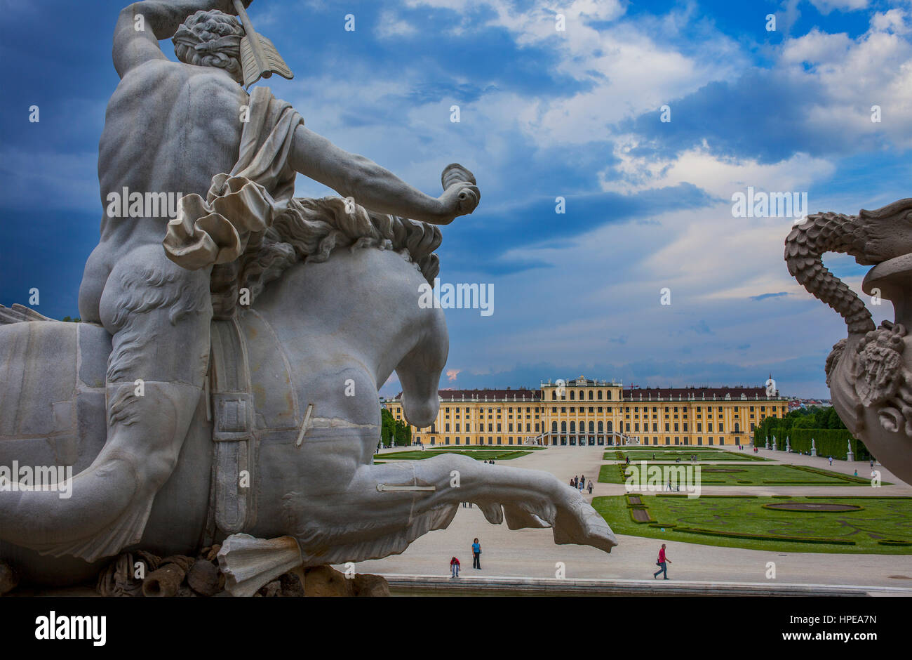 Schönbrunn Palace and gardens from Neptune fountain, Vienna, Austria, Europe - Stock Image