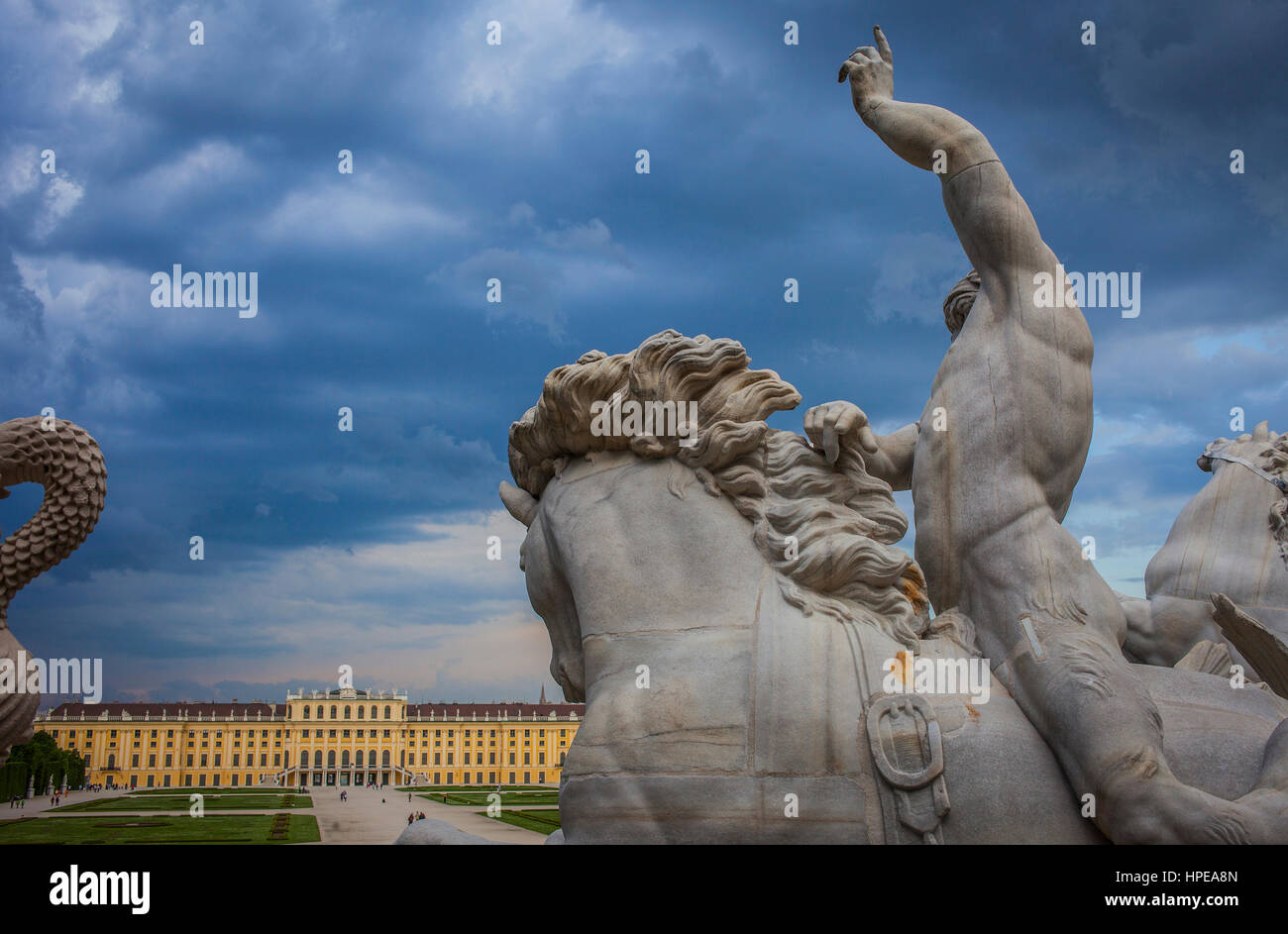 Schönbrunn Palace and gardens from Neptune fountain, Vienna, Austria, Europe - Stock Image