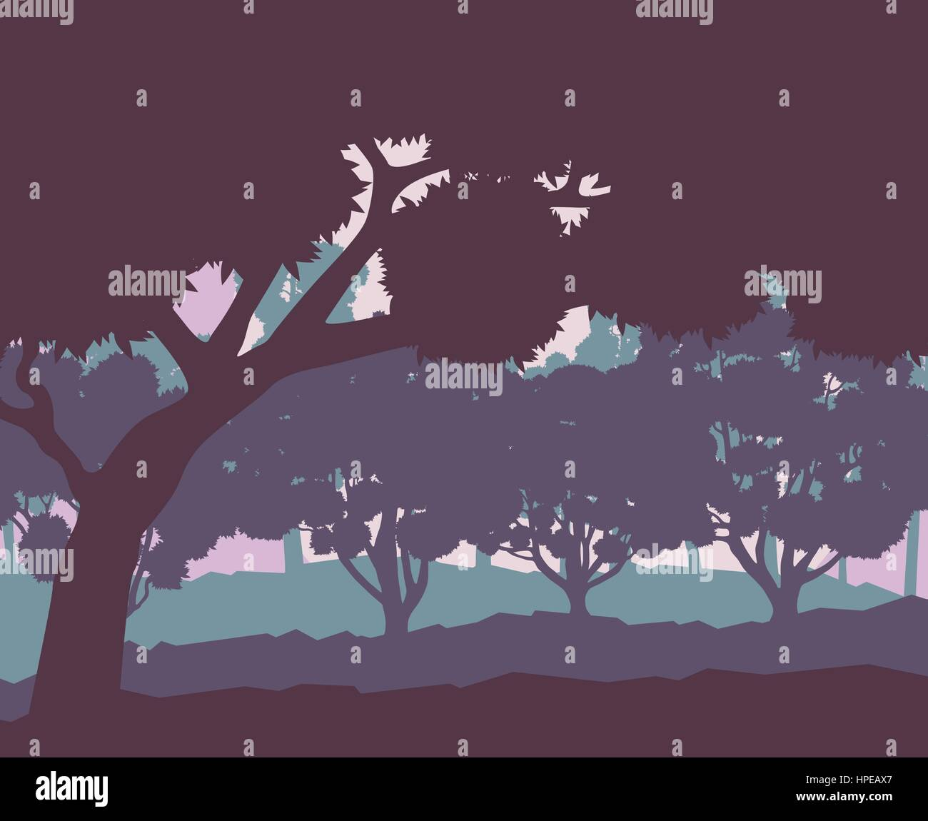 Mystical forest landscape sunset vector background vintage and retro colors Stock Vector