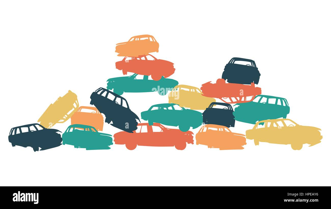 Damaged car pile in wrecking yard colorful vector background isolated on white - Stock Vector