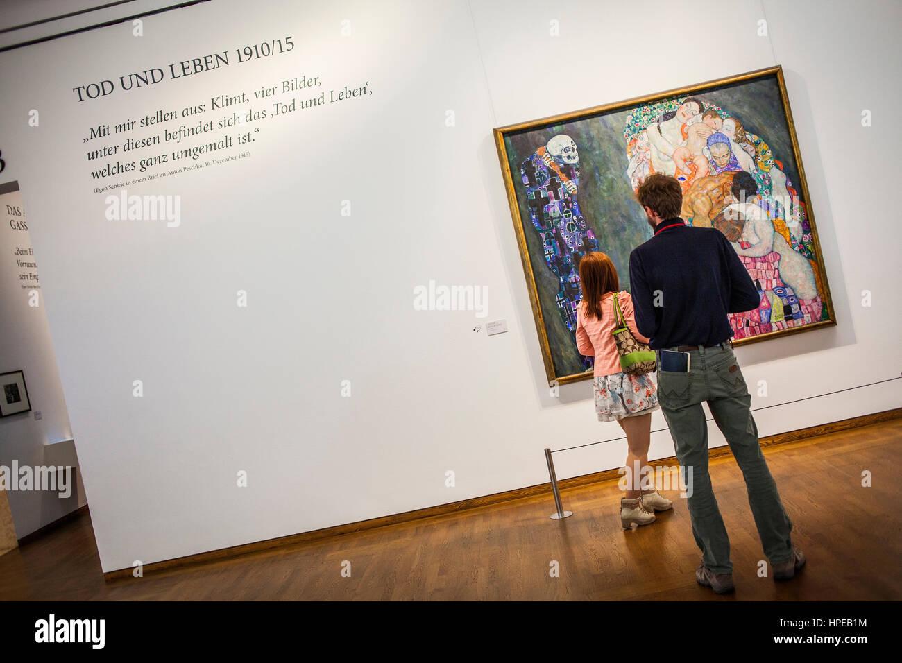 Tod und Leben,oil on canvas,Gustav Klimt,Leopold Museum,Vienna, Austria, Europe - Stock Image
