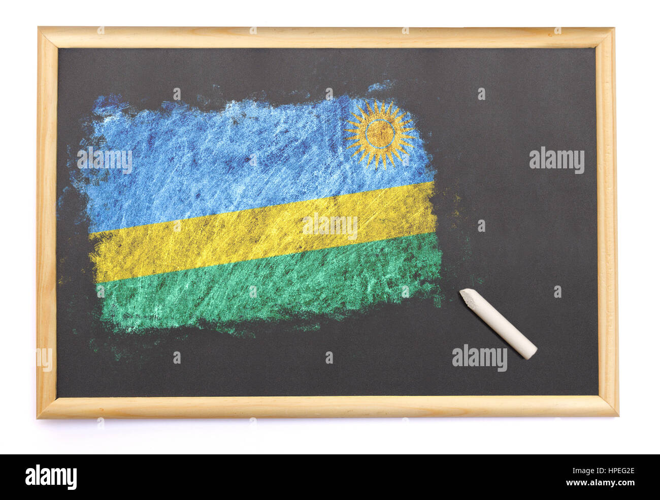 Blackboard with the national flag of Rwanda drawn on and a chalk.(series) - Stock Image