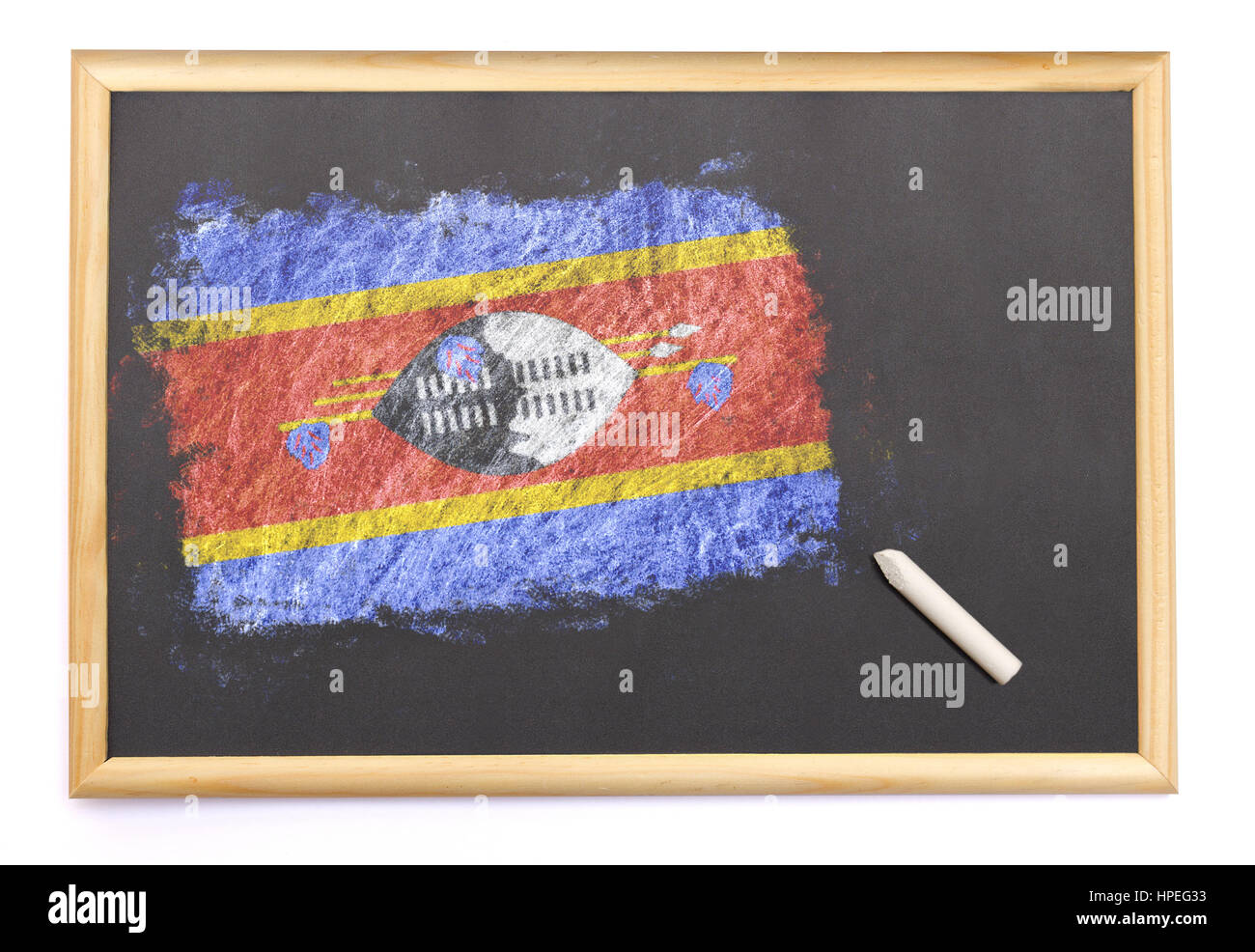 Blackboard with the national flag of Swaziland drawn on and a chalk.(series) Stock Photo