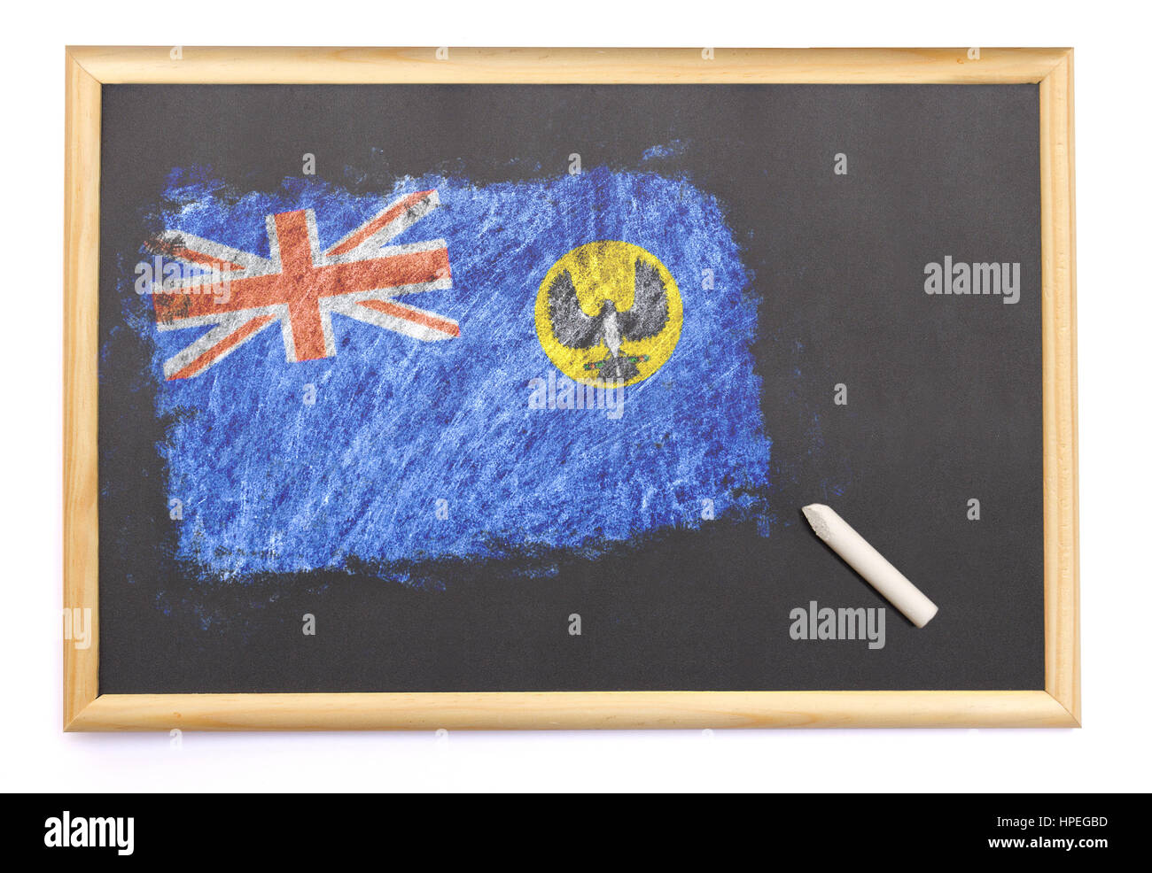 Blackboard with the national flag of South Australia drawn on and a chalk.(series) - Stock Image