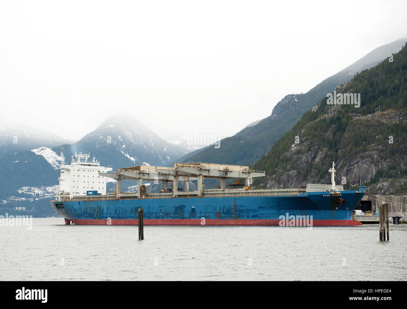 The Star Hidra moored at the Squamish Terminals cargo port in Howe Sounds.  Squamish BC, Canada. - Stock Image