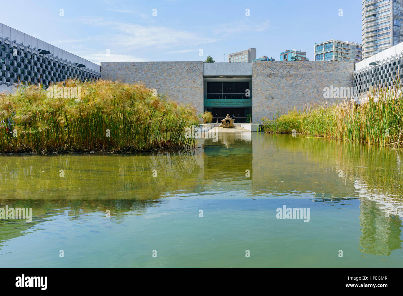 Mexico City, FEB 16: Pond in the National Museum of Anthropology (Museo Nacional de Antropologia, MNA) on FEB 16, - Stock Image