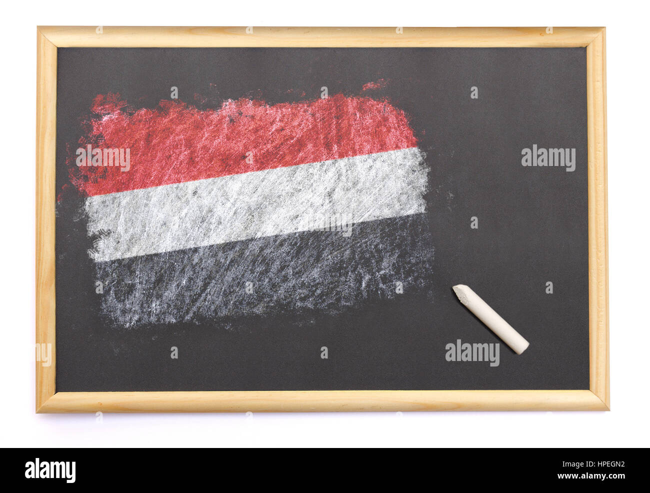 Blackboard with the national flag of Yemen drawn on and a chalk.(series) - Stock Image