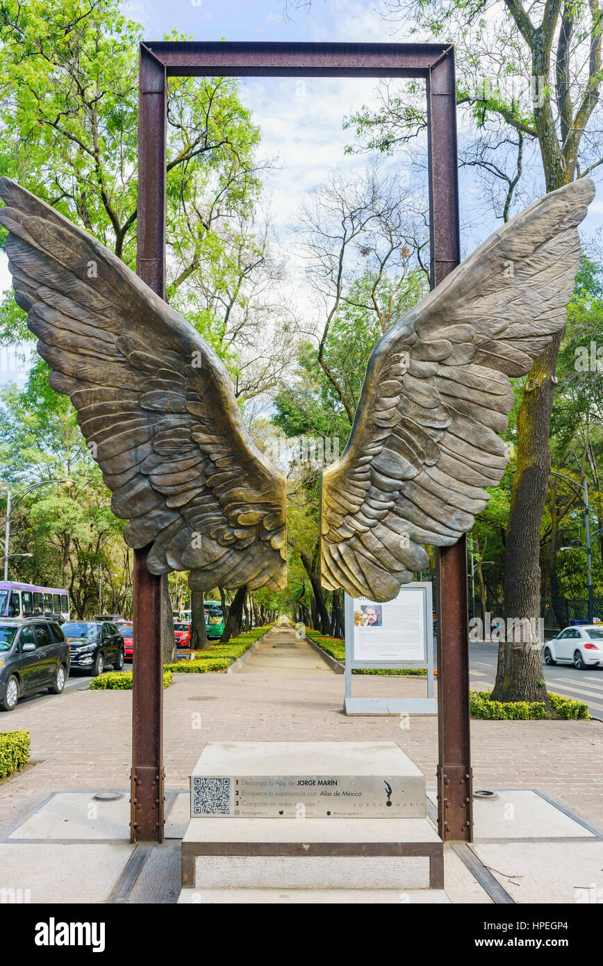Mexico City, FEB 16: Beautiful wing statue near National Museum of Anthropology on FEB 16, 2016 at Mexico City Stock Photo