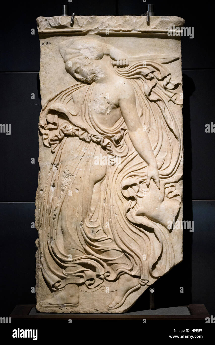 Rome. Italy. Relief of Dancing Maenad, Roman copy, dated 27 BC-14 AD, from an original by Kallimachos 406-405 BC, Stock Photo