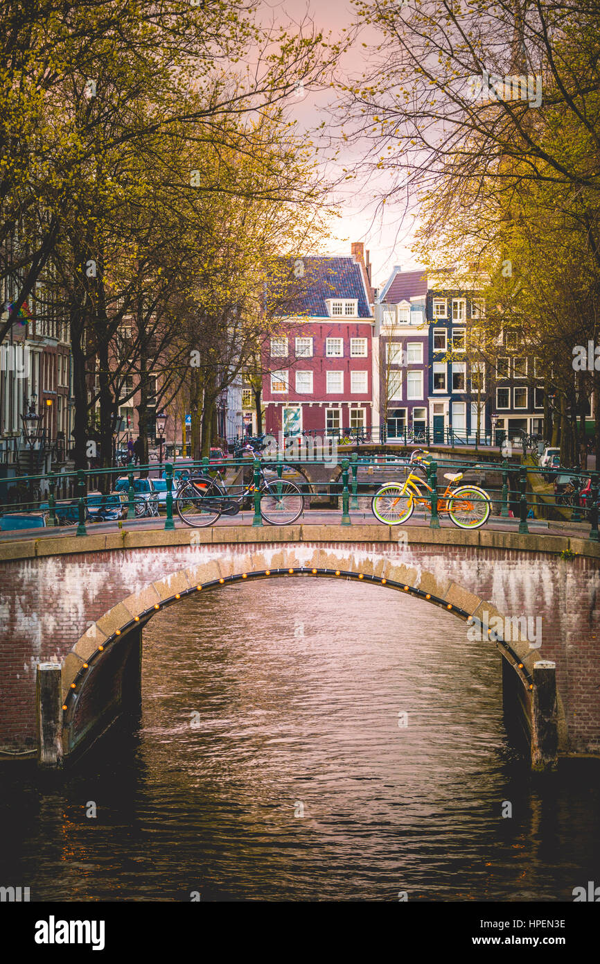 Canal Crossroads At Keizersgracht, Amsterdam, Netherlands - Stock Image