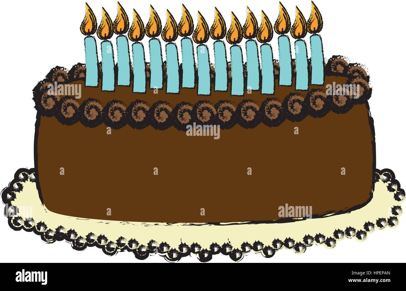 Delicious Birthday Cake Stock Vector Art Illustration