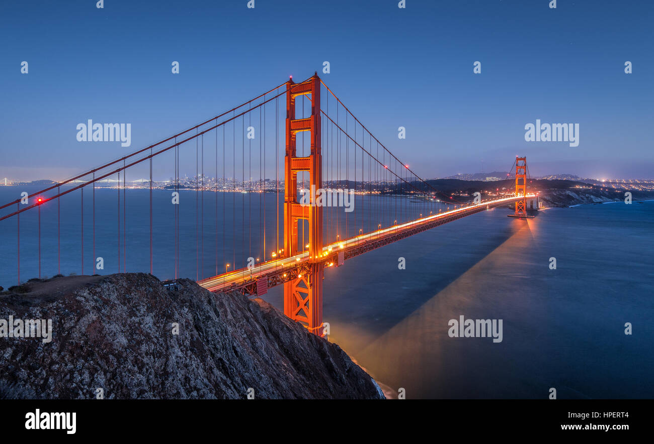 Classic panoramic view of famous Golden Gate Bridge seen from Battery Spencer viewpoint in twilight during blue - Stock Image