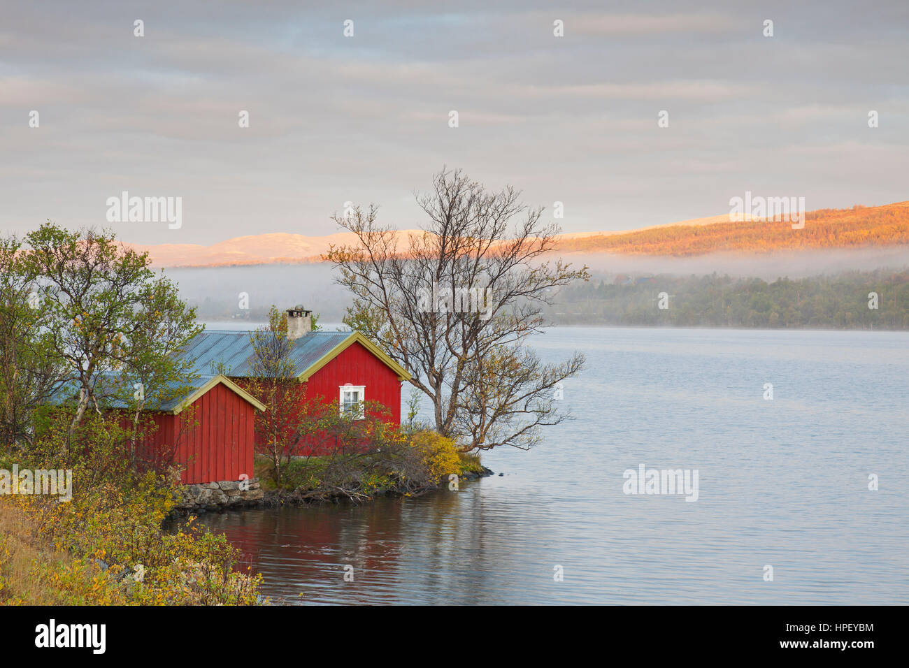 Typical red rorbu / rorbuer or fisherman's cabin along lake Avsjoen / Avsjøen in autumn at Dovrefjell, - Stock Image
