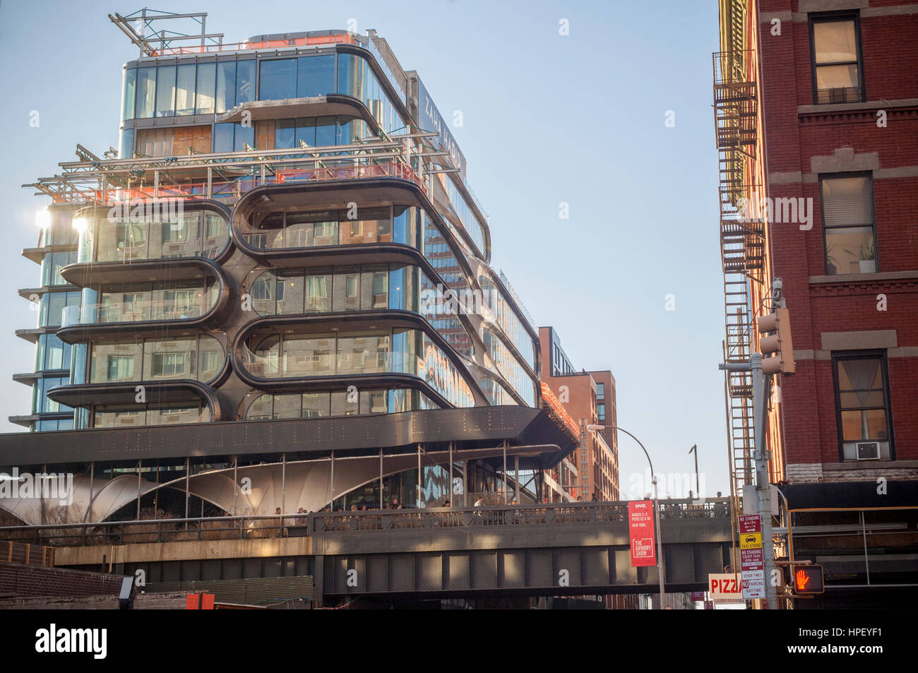 Construction of the Zaha Hadid designed condo along the High Line in West Chelsea in New York on Monday, February Stock Photo