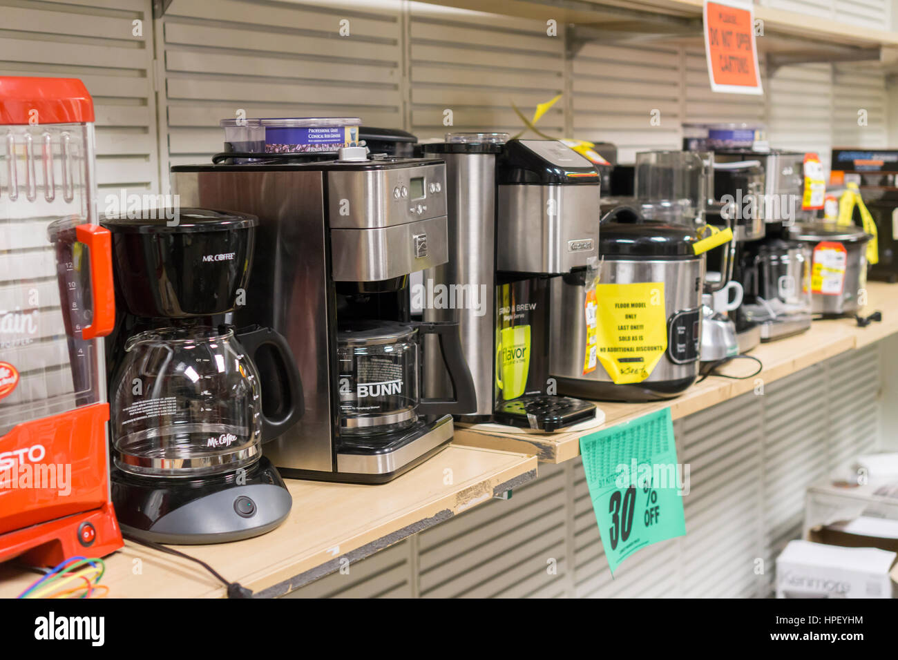 Small appliances at the soon to be closing Sears store in Rego Park in the New York borough of the Queens on Saturday, - Stock Image
