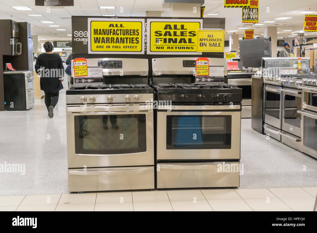 Kitchen appliances at the soon to be closing Sears store in Rego Park in the New York borough of the Queens on Saturday, - Stock Image