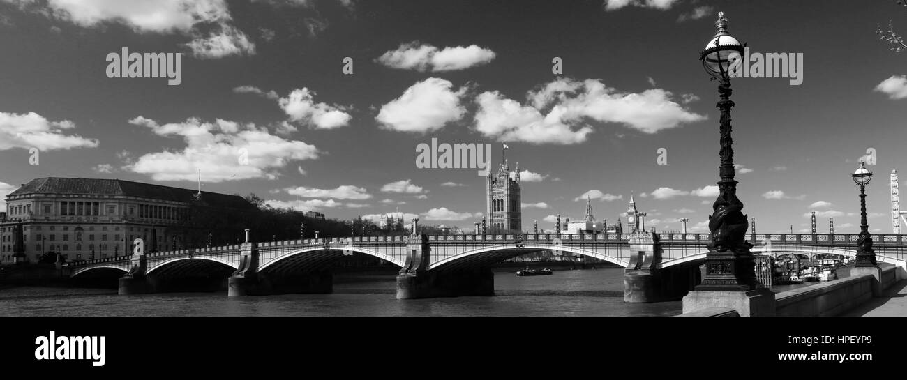 Summer, the Albert embankment and Westminster Bridge, South bank, river Thames, Westminster, London City, England, - Stock Image