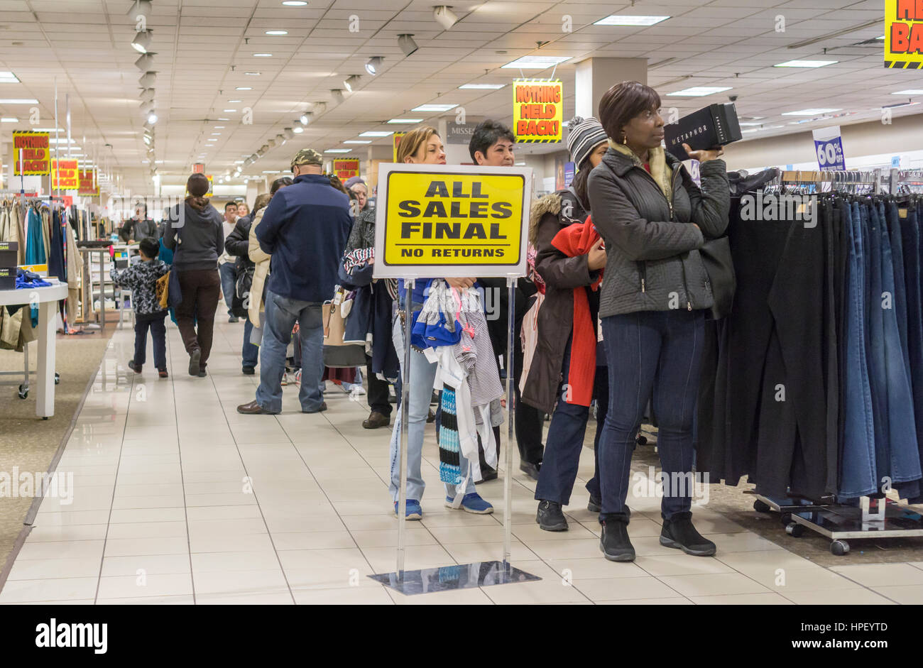 Checkout line at the soon to be closing Sears store in Rego Park in the New York borough of the Queens on Saturday, - Stock Image