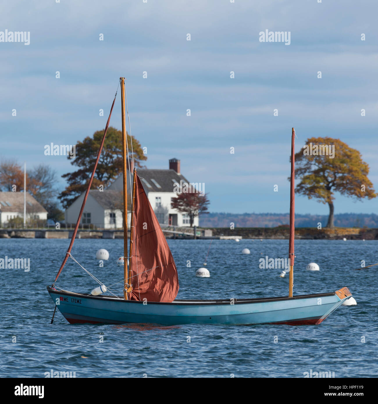 Ketch Dinghy on its Moorings in Camden Harbor, Maine - Stock Image