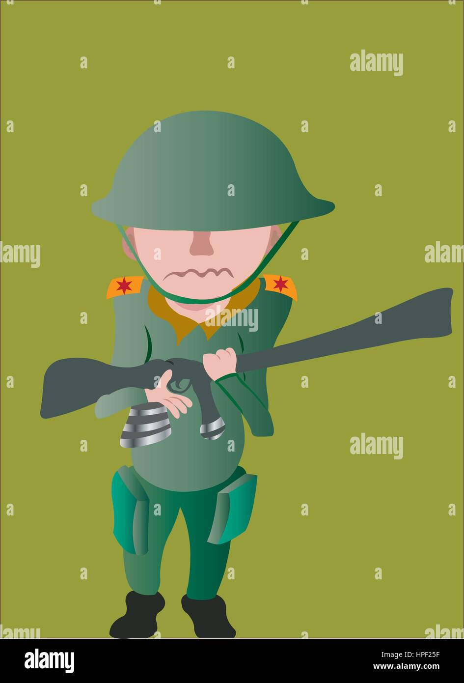 a child soldier holding a gun - Stock Vector