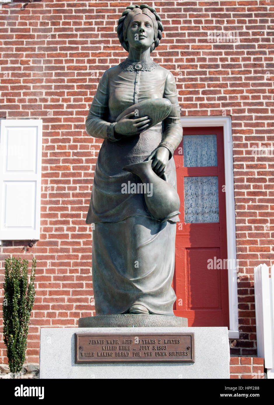 Jennie Wade the Bread Martyr was the only civilian killed during the Civil War's Battle of Gettysburg in Pennsylvania - Stock Image