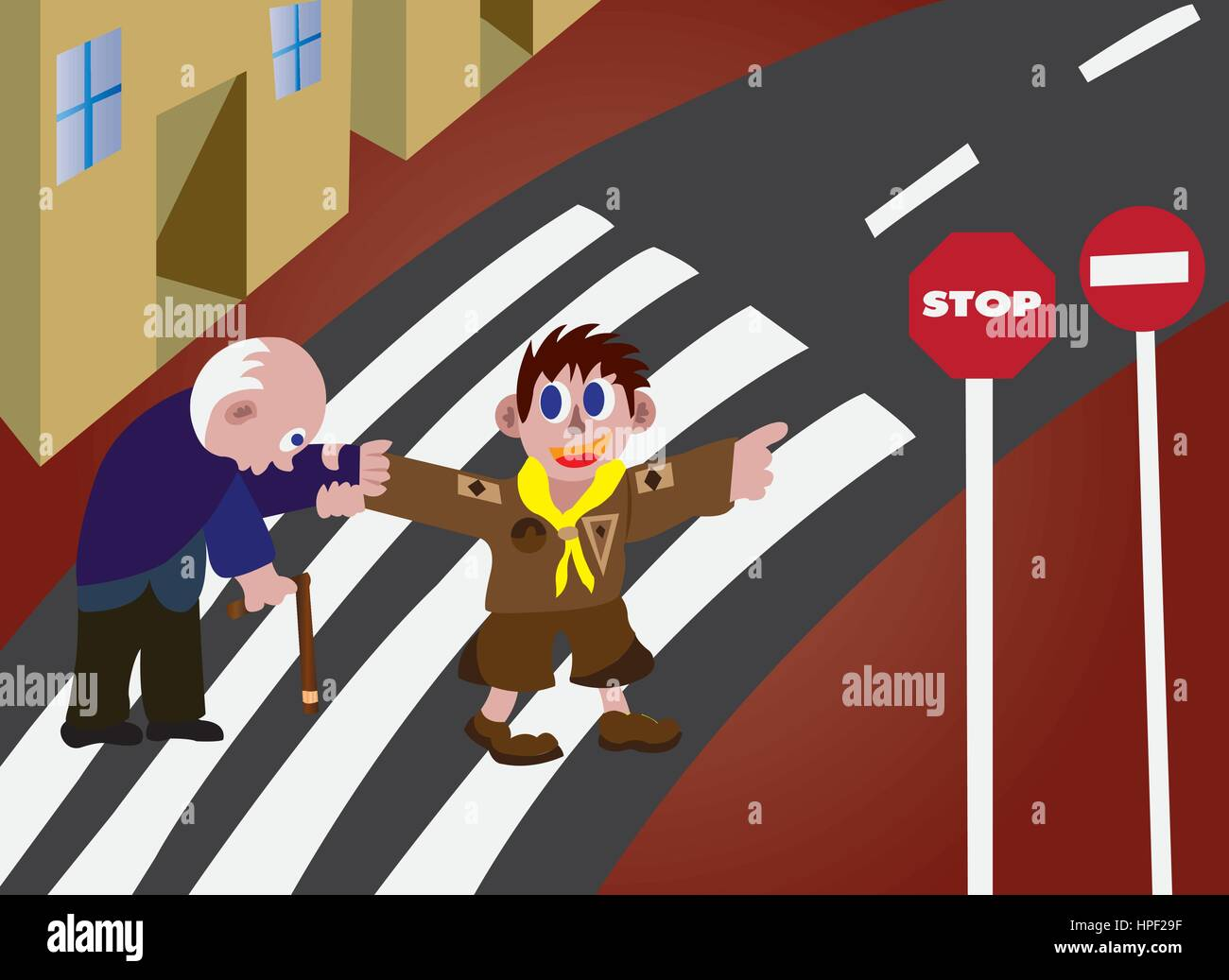 a boy scout helping an elderly man cross a road - Stock Vector