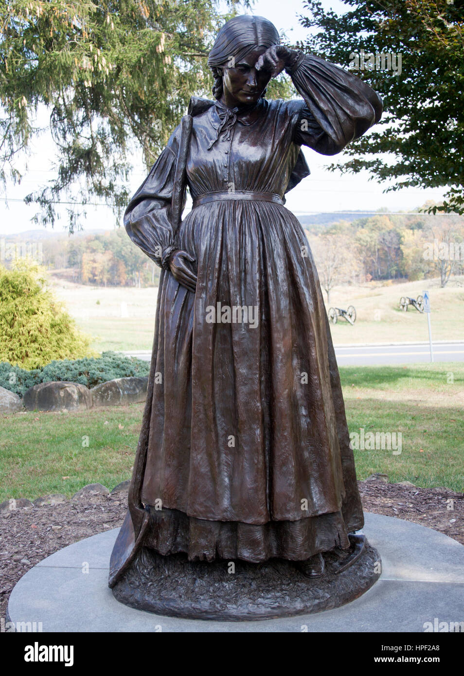 Statue of the Pregnant Gravedigger Elizabeth Thorn in Gettysburg Pennsylvania - Stock Image