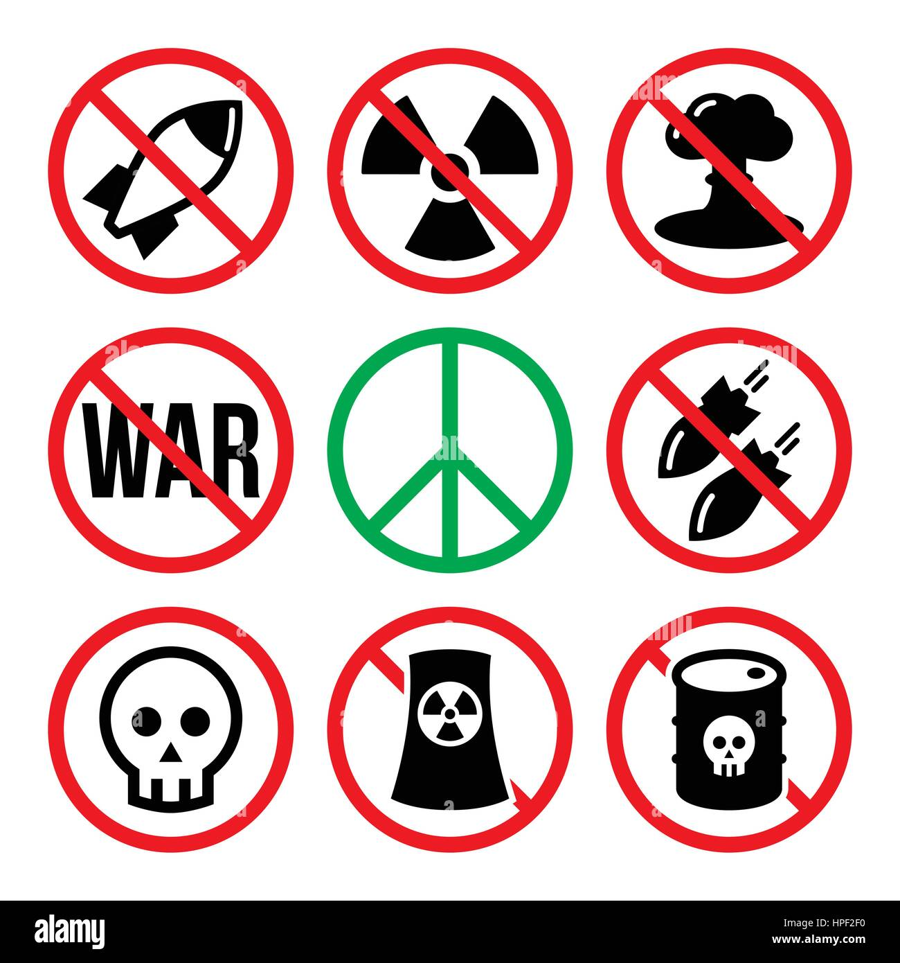 No nuclear weapon, no war, no bombs warning signs - Stock Image