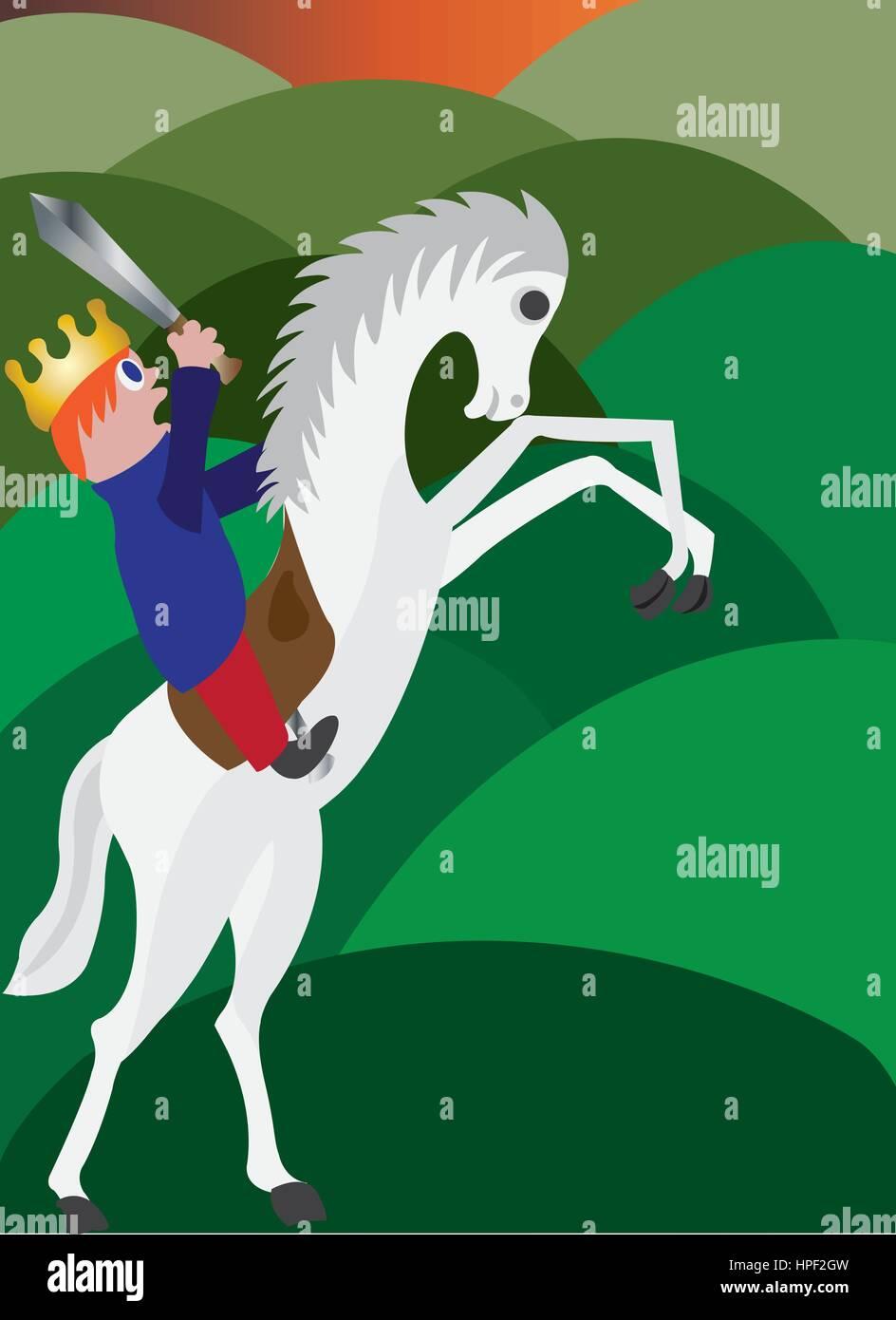 a king to be boy mounts a horse - Stock Vector