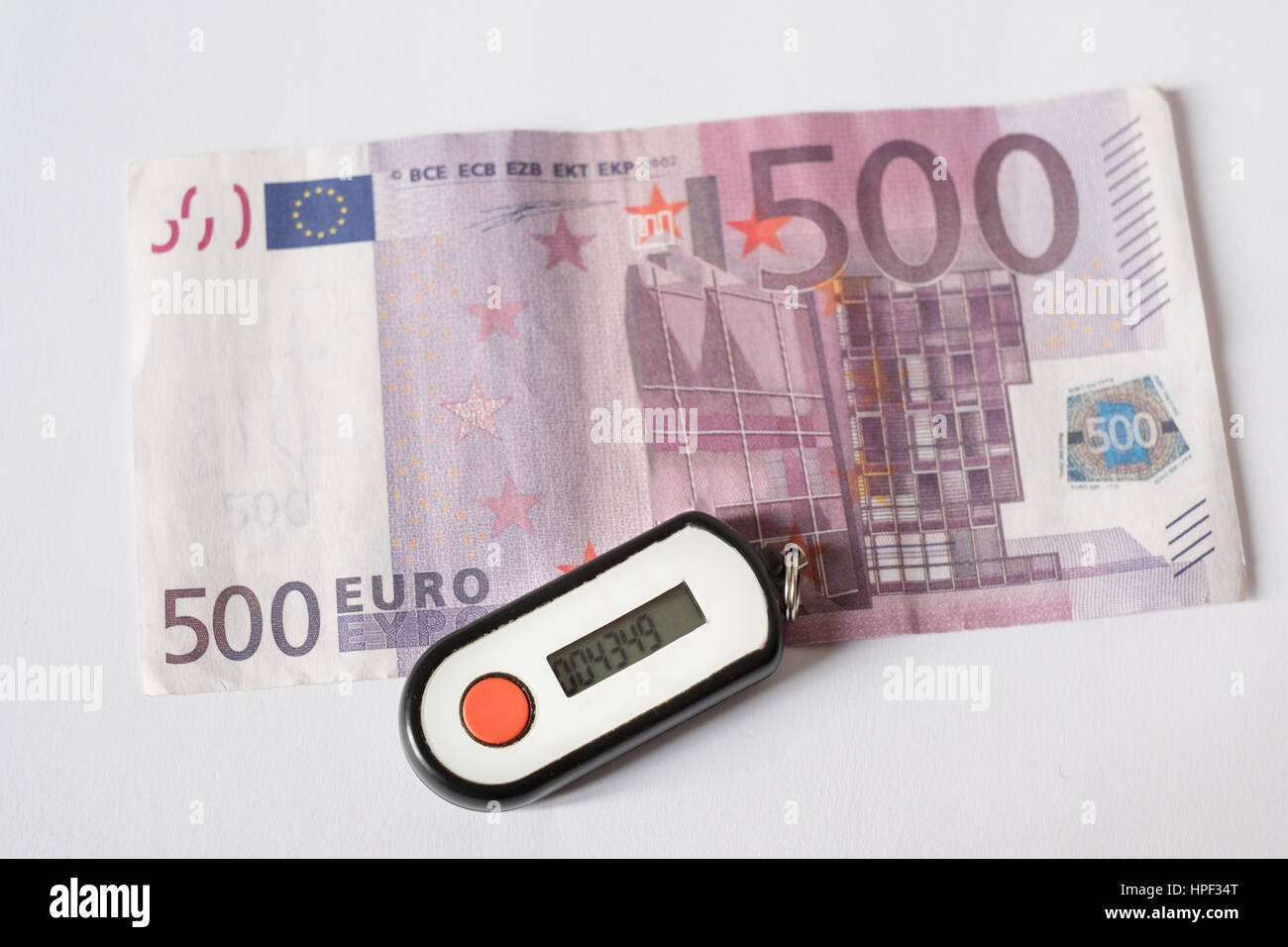 Security pin banking generator and euro currency - Stock Image