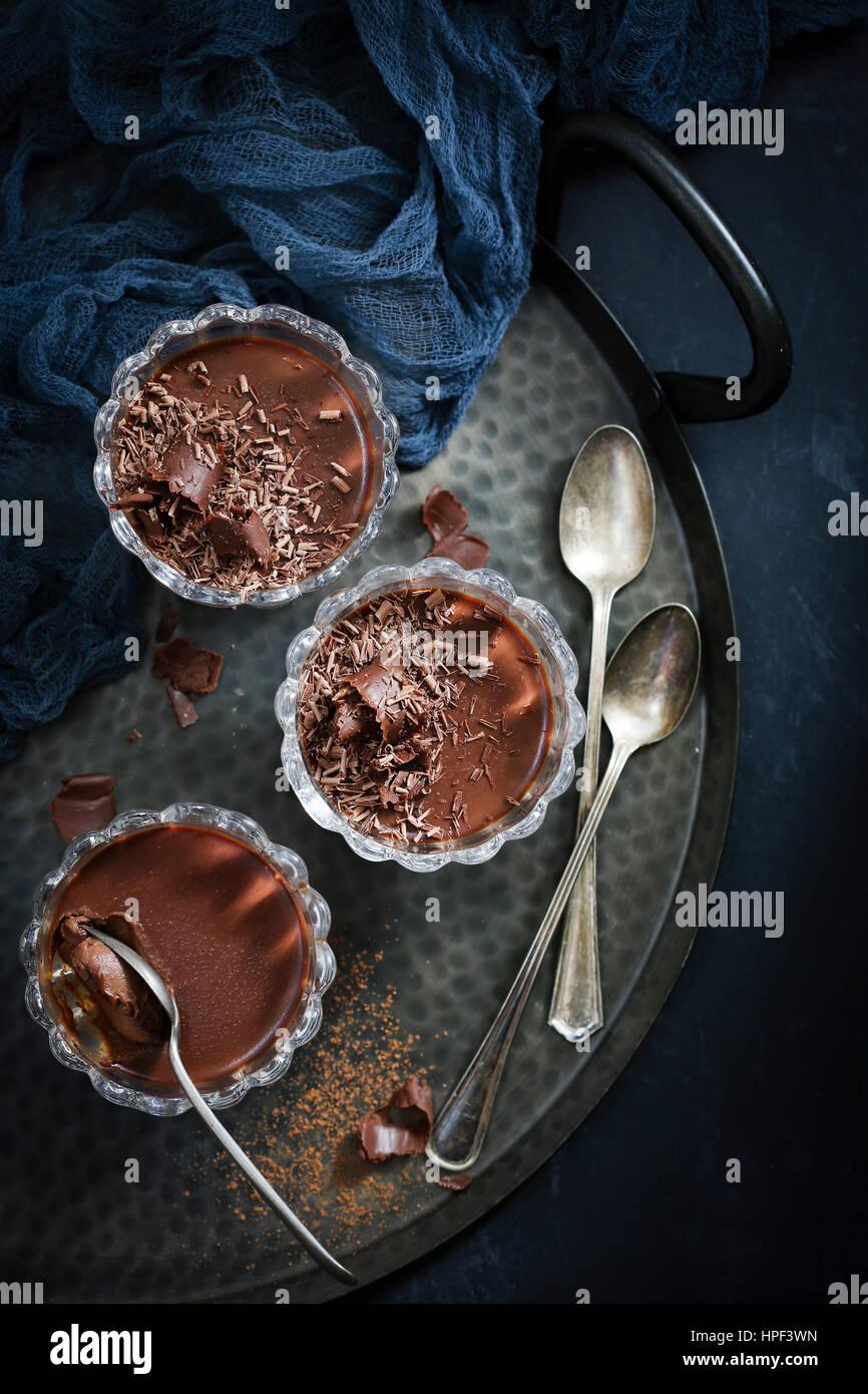 DARK CHOCOLATE ESPRESSO PANNACOTTA - Stock Image