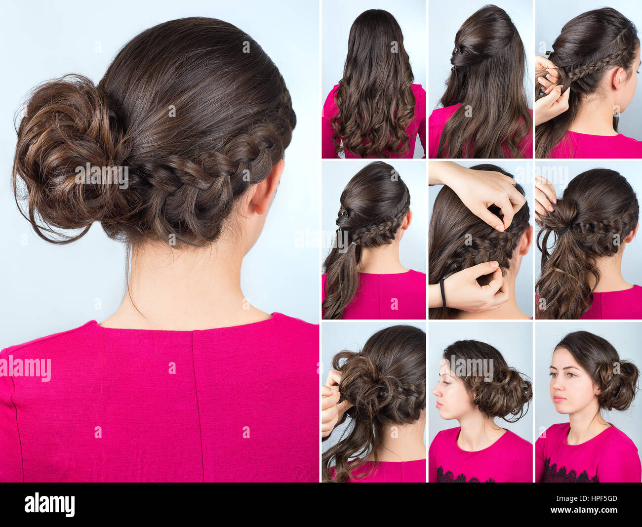 Hairstyle Twisted Bun To One Side And Braid On Curly Hair