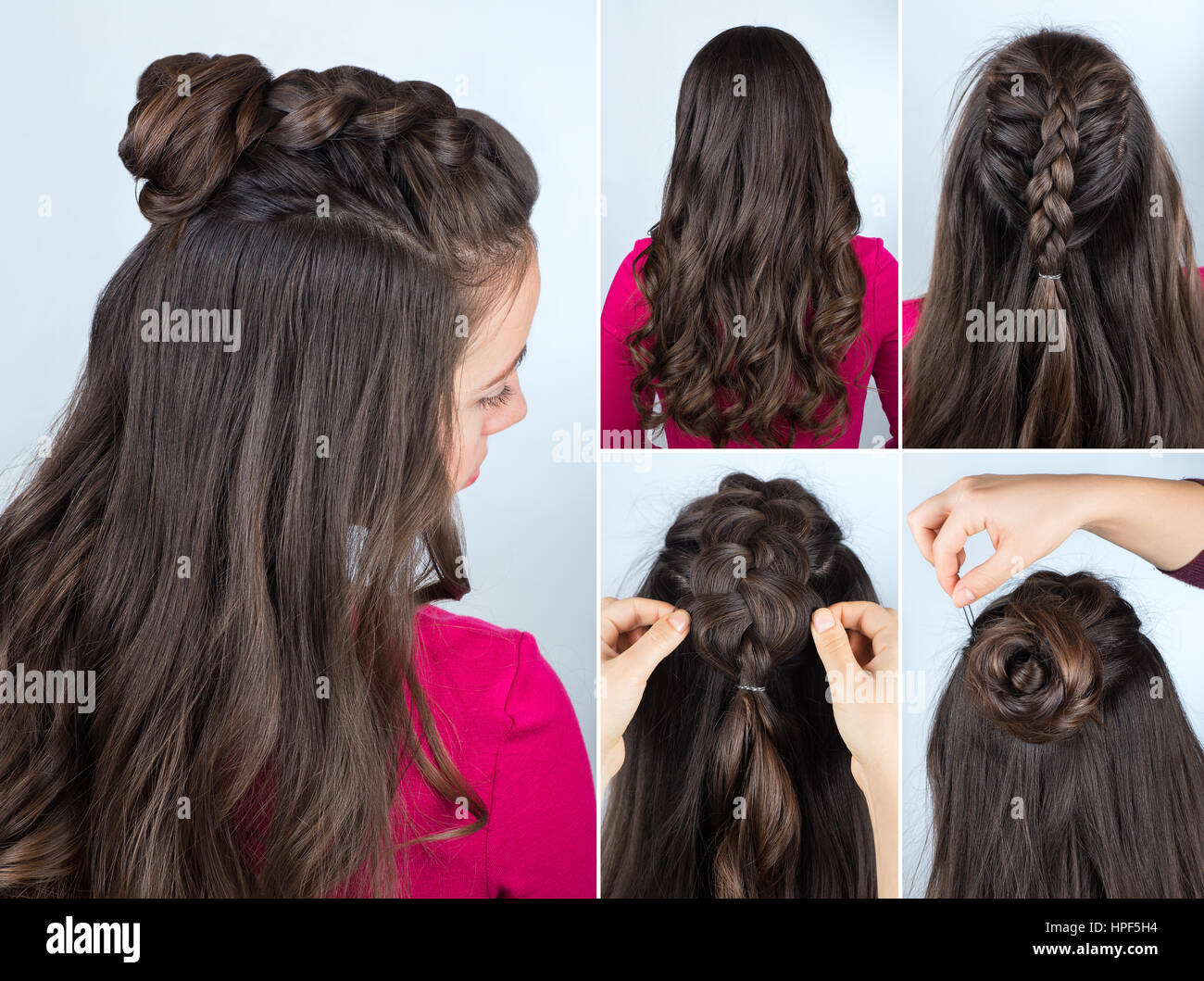 Modern Hairstyle Twisted Bun And Braid With Curly Loose Hair Stock